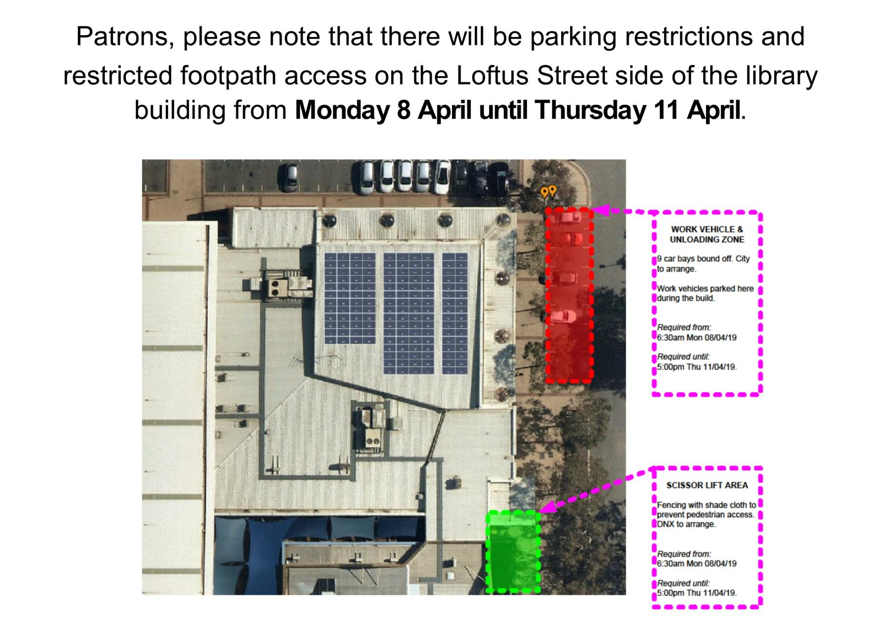 Parking and footpath restrictions due to building maintenance